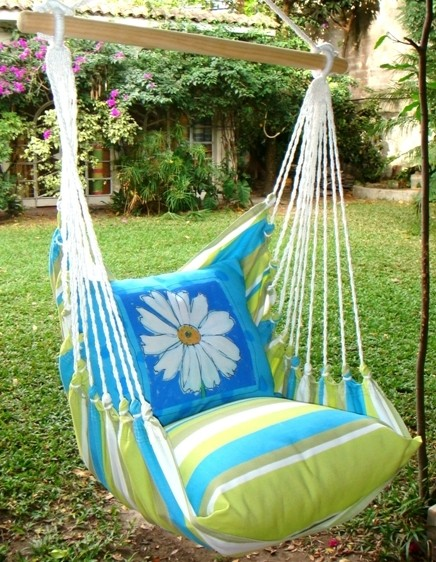 Beach Boulevard Stripe w/Daisy Swing Set traditional-hammocks