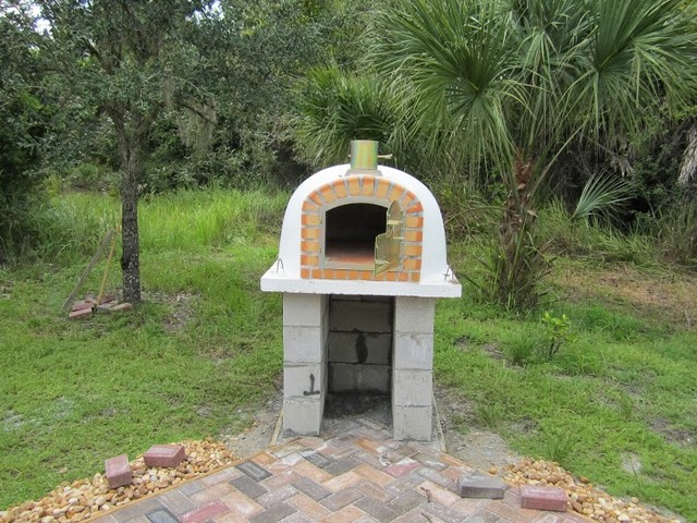backyard brick pizza oven unfinished rustic