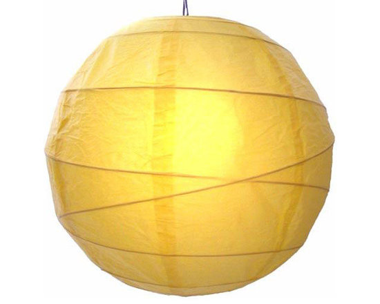 """Oriental-Decor - Sunny Yellow Globe Lantern, 16"""" - Yellow is a very spiritual color in Asian culture and Buddhism. It is very closely associated with the color gold and the enlightened state. Yellow is also a vibrant color that gives off energy and good cheer. Hang one, or a series, of this beautiful paper lantern for a festive look and a decorative effect."""