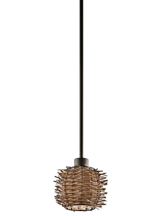 Kichler Lighting - Olde Bronze Twigs Single-Bulb Indoor Pendant with Round Wood Shade - Kichler 43235OZ Twigs Mini Pendant This unique 1 light mini pendant from the Twigs collection makes a bold statement. The rich Olde Bronze finish and natural detailing will dramatically elevate any space in your home.