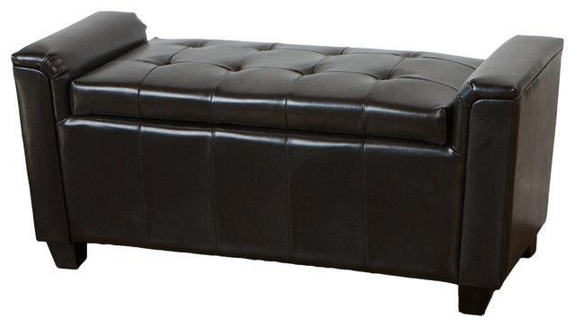 Regal Tufted Leather Armed Storage Ottoman Bench contemporary-footstools-and-ottomans