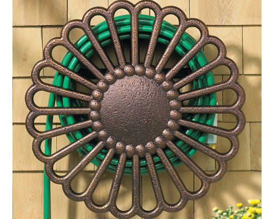 Home & Garden Accents - This beautiful hose holder is made of aluminum and is finished in a bronze color.