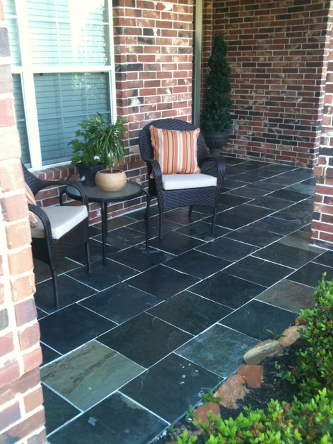 Indian Slate Front Porch Traditional Deck Houston