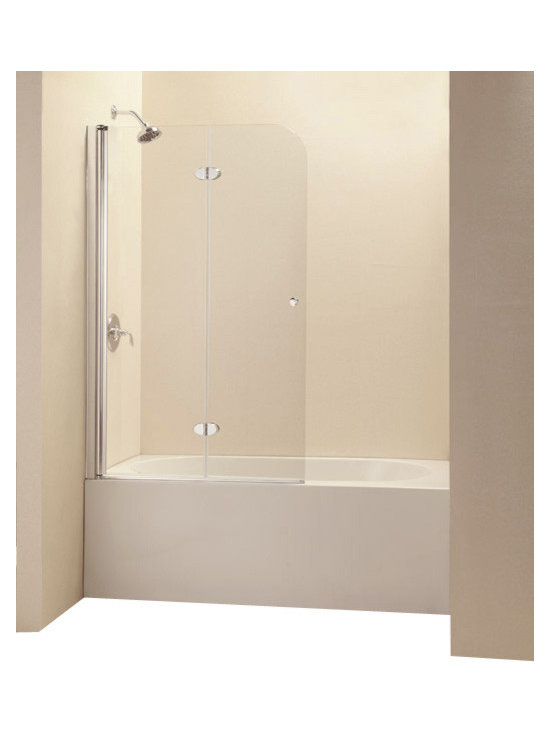 DreamLine - DreamLine SHDR-3636580-01 EZ-fold 36in Frameless Hinged Tub Door, Clear 1/4in Gl - The EZ-Fold tub door is the perfect combination of function and style. The frameless door makes a statement with sophisticated curved silhouette, while the practical feature of the bi-fold action offers convenience. Choose the EZ-Fold tub door for a unique and modern look at an attractive price point. 36 in. W x 58 in. H ,  1/4 (6 mm) clear tempered glass,  Chrome hardware finish,  Frameless glass design,  Out-of-plumb installation adjustability: Up to 3/8 in. one side,  Unique folding frameless tub door with trackless system,  Bi-fold panels with glass-to-glass solid brass hinges,  Innovative anodized aluminum profile with full length pivot in.,  Reversible for right or left door opening installation,  Material: Tempered Glass, Aluminum, Brass