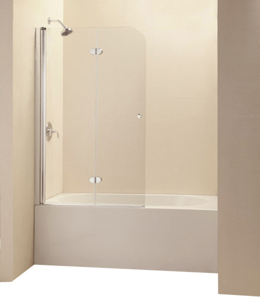 Frameless hinged tub door clear 1 4in gl contemporary shower doors