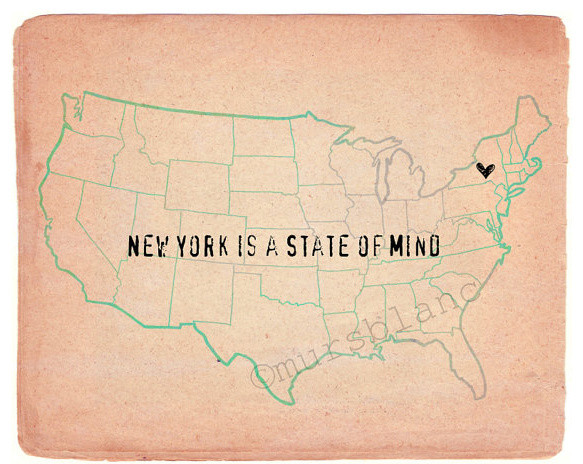 New York is a State of Mind Typography Wall Art by MursBlanc artwork