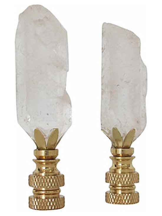 Rock Quartz Crystal Finials - Stunning Hollywood Regency Inspired Rock Crystal Finials set in solid brass. Fits any standard lamp harp. Signed/dated, and arrives in a beautiful gift box.