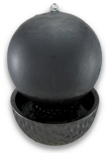 Metallic Black Porcelain Ball Fountain 10 Inch Diameter contemporary-garden-sculptures