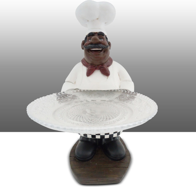 Black Chef Kitchen Statue Holding Glass Plate Table Art