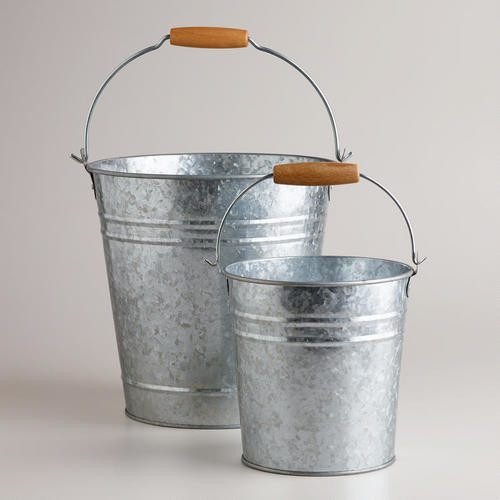 Galvanized Metal Pails Traditional Outdoor Products