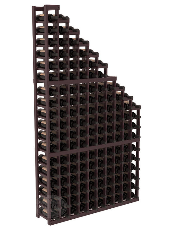 Wine Cellar Waterfall Display Kit in Redwood with Burgundy Stain + Satin Finish - A beautiful cascading waterfall of wine bottle displays. Create a spectacle of 9 of your favorite vintages. Designed within our modular specifications and to Wine Racks America's superior product standards, you'll be satisfied. We guarantee it.