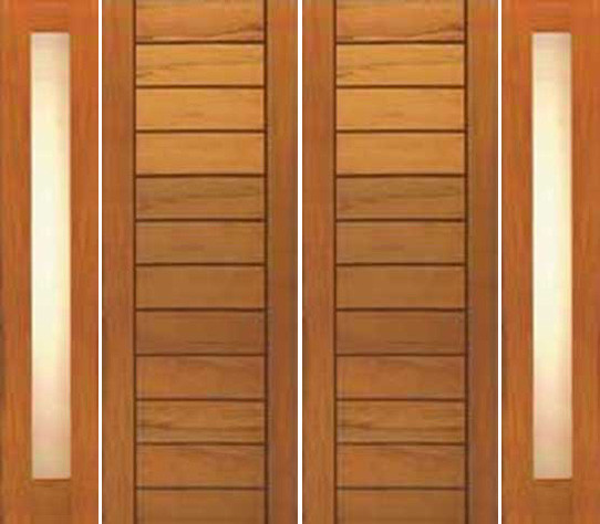 Double Door, Two Sidelite, Contemporary Flush Panel, Solid Wood - Contemporary - Front Doors ...