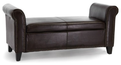Hemmingway Brown Bonded Leather Armed Storage Bench modern benches