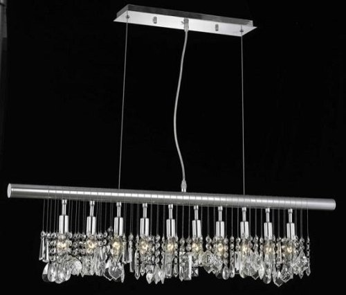 10-Light Chrome Linear Crystal Pendant Chandelier contemporary-chandeliers