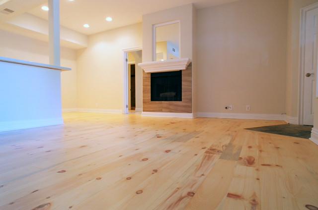 Knotty White Pine Wide Plank Hardwood Floor Refinishing