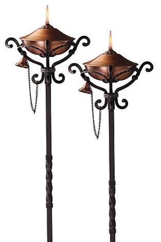 Set of Two Regent Copper Torches - Frontgate traditional-outdoor-lighting