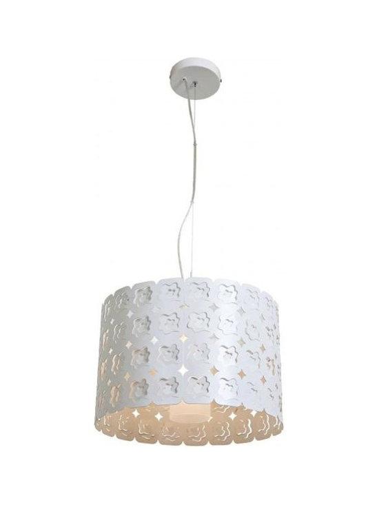 Access Lighting 50989-CRM/FST One Light White Drum Shade Pendant -