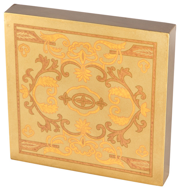 Gold Copper Floral Scroll Design Handpainted Wall Art