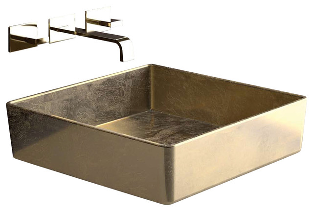 "FOUR Lux FOURFO Square Vessel Sink in Gold Leaf 15.7"" x 15.7"" - Contemporary - Bathroom Sinks ..."
