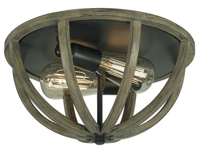 af allier 2 light weather oak wood flush mount rustic flush mount. Black Bedroom Furniture Sets. Home Design Ideas