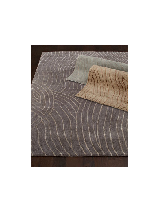 "Horchow - ""Okapi Stripe"" Rug - The traditional animal-print rug takes on a new look with subtle stripes reminiscent of the African okapi. Select color when ordering. Hand tufted of New Zealand wood and viscose. Sizes are approximate. Imported. See our Rug Guide for tips on ho..."