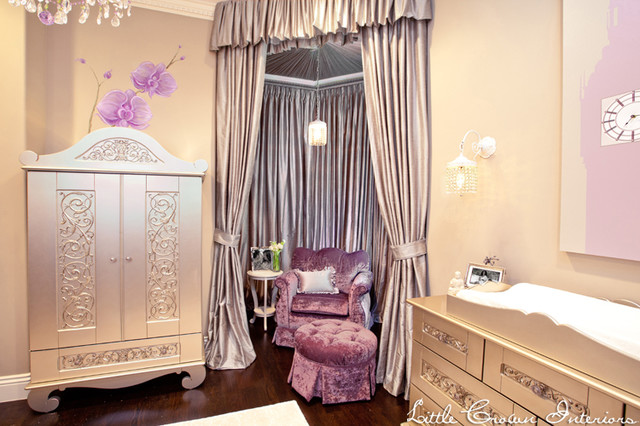 Lavender and Ivory Girl's Nursery for Mel B. traditional-kids