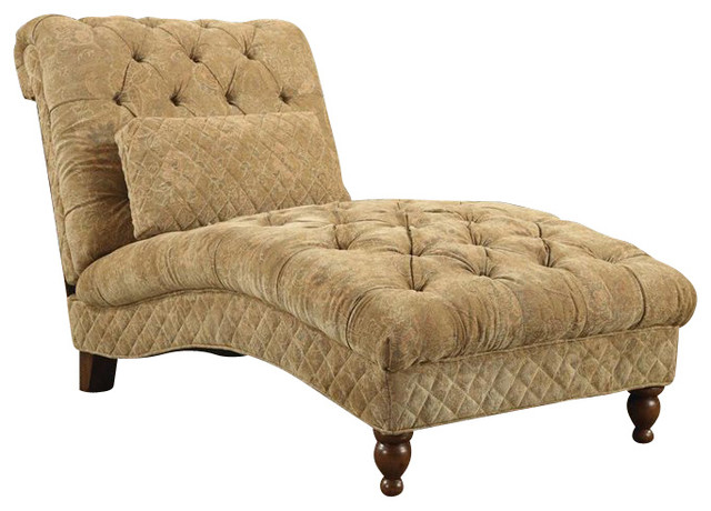 coaster accent seating golden toned accent chaise in