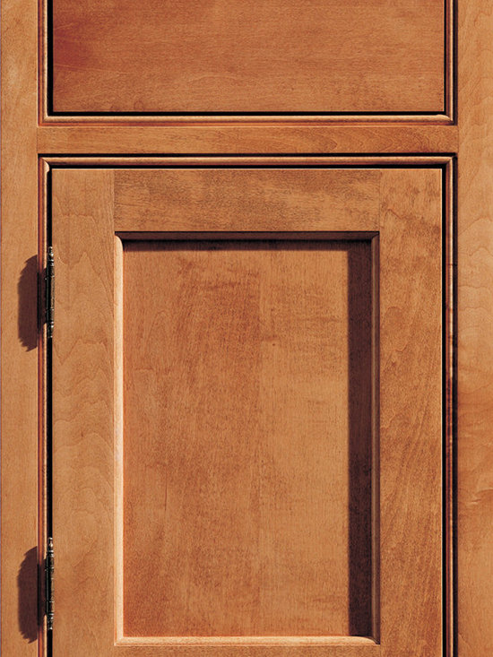 """Dura Supreme Cabinetry - Dura Supreme Cabinetry Arcadia Panel/Kendall Panel Inset Cabinet Door Style - Dura Supreme Cabinetry """"Arcadia Panel/Kendall Panel"""" inset cabinet door style in Maple shown in Dura Supreme's """"Ginger"""" finish with the optional solid drawer front."""