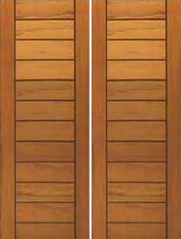 Contemporary flush panel double door solid tropical wood for Flush front door