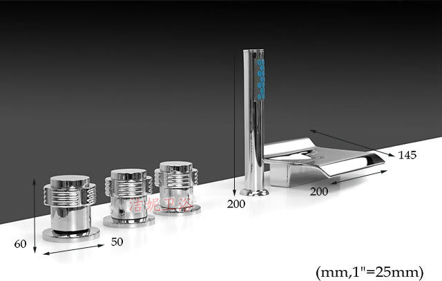 NEW**Tub shower faucet with handshower chrome finish 88005A modern-showerheads-and-body-sprays