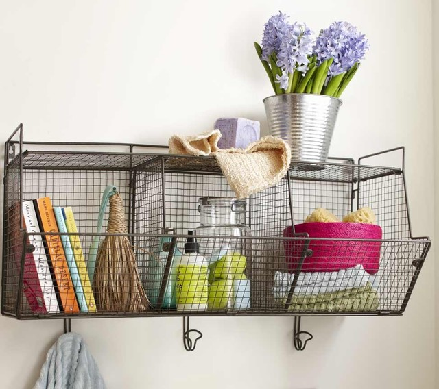 3 bin wire hanging shelf eclectic baskets by vivaterra. Black Bedroom Furniture Sets. Home Design Ideas