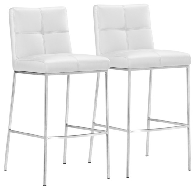set of 2 zuo modern box white 30 high bar stool