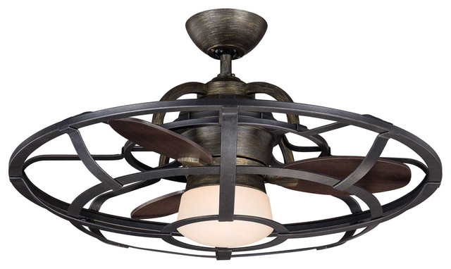 "Savoy House Alsace 26"" Fan d' Lier in Reclaimed Wood - Farmhouse - Ceiling Fans - by Lampclick"