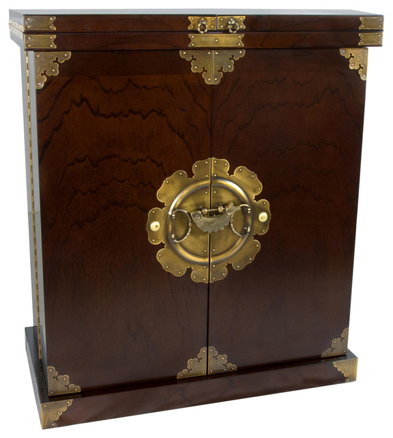 Korean Antique Style Liquor Cabinet Wine Bar - Asian - Wine And Bar Cabinets - by Oriental Furniture