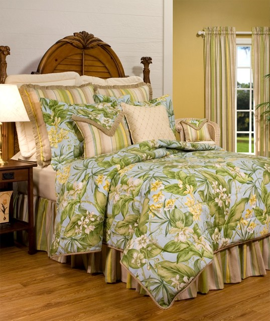 Tropical Bedding Sets For a way to bring the allure of an island lifestyle into the home, try outfitting a bedroom with tropical bedding sets. These bedding options feature pleasing colors, paired with patterns that instantly bring thoughts of rolling ocean waves, warm breezes and sandy shores.