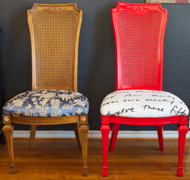 Diy ideas spray paint and reupholster your dining room for Dining room chair upholstery ideas