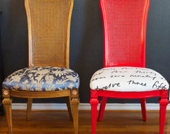 DIY Ideas: Spray Paint and Reupholster Your Dining Room Chairs eclectic