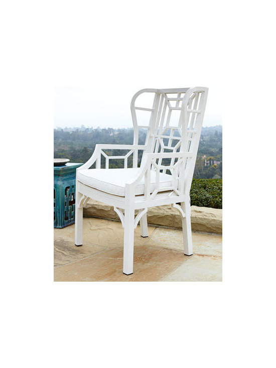 Horchow - White Chinoiserie Outdoor Wing Chair - A white Chinese Chippendale wing chair made of aluminum will bring classic chinoiserie to your outdoor seating.