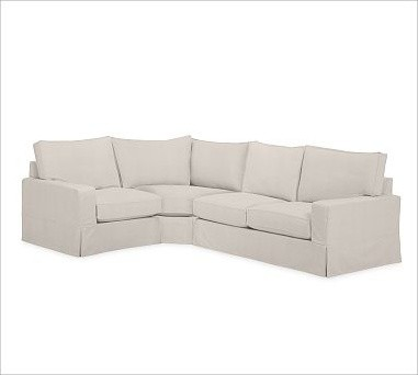 PB Comfort Square Arm Slipcovered Right 3-Piece Wedge Sectional, Box Cushion, Po traditional-pillows
