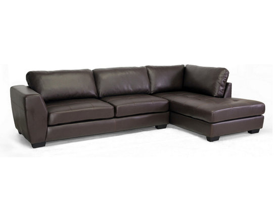 Baxton Studio - Baxton Studio Orland Leather Modern Sectional Sofa Set with Right Facing Chaise - Spacious. Sleek. Urban. The sizable Orland Sectional Sofa is classy and contemporary with a youthful vibe. Each of the two pieces included with this set is made with a wooden frame, firm foam cushioning, and soft brown bonded leather. The backrest cushions are removable and secure to the frame with Velcro strips. The sofa and chaise are freestanding pieces that do not adhere to one another. Black plastic legs with non-marking feet finish off the look. The Orland Living Room Sectional is made in Malaysia and should be wiped clean with a solvent of mild detergent and water. This style is also offered with the chaise on the opposite side as well as both configurations in white bonded leather (each sold separately). Minor assembly is required.