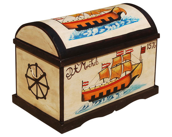 Sierra Living Concepts - Hand Painted Mango Wood Dome Top Storage Trunk - Yo ho, ho, and a trunk full of fun. Our Seafarers Hand Painted Mango Wood Dome Top Storage Trunk brings a bright splash of color home with hand painted full color sailing ships dated 1576 and 1668. This solid hardwood storage box is built with mango wood, a tropical hardwood grown as a sustainable crop.
