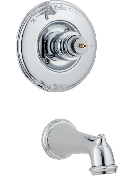 Delta - Delta T14155-LHP Victorian Monitor 14 Series Scald-Guard Tub Trim Only Less Hand - Delta T14155-LHP Victorian Monitor® 14 Series Scald-Guard Tub Trim Only Less Handle in ChromeThe soft curves of the Victorian Collection and the intricate, handcrafted details make it a beautiful bath collection reminiscent of a past era. Let the shower become your private sanctuary where body sprays and showerheads work in perfect harmony.  Delta Monitor® faucets help keep the water a constant temperature to ensure you and your family have a safe and comfortable shower experience day after day.  You emerge every day refreshed.  All in a room that reflects your personal style.  Offered in a multitude of finishes, the Victorian Bath Collection comes with a full suite of coordinating accessories, providing a decorative look throughout the bath.Delta T14155-LHP Victorian Monitor® 14 Series Scald-Guard Tub Trim Only Less Handle in Chrome, Features:• Full collection carries old world charm through an entire home