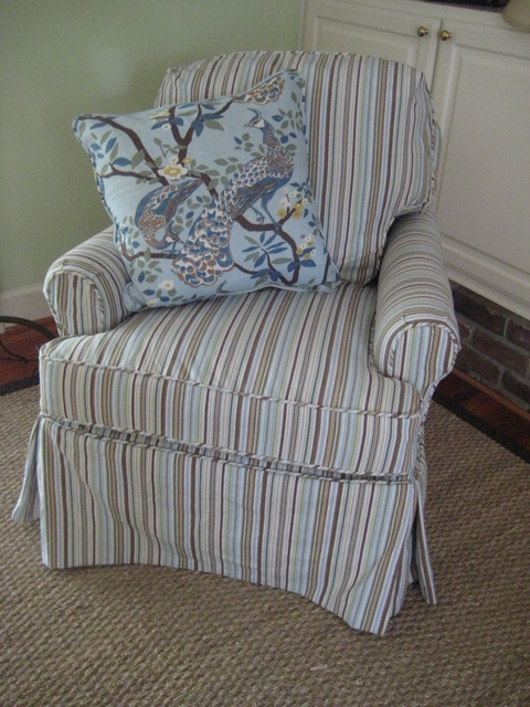 Small Club Chair Slipcovered In Sierra Stripe Camel