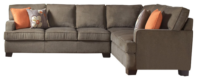 Coaster alvah microfiber sectional sofa in olive brown for Coaster transitional styled sectional sofa sleeper in brown