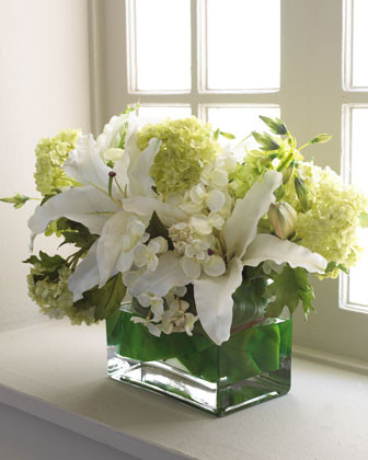 White Lily & Hydrangea Faux Floral Arrangement traditional-vases