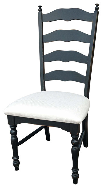 Ladderback Distressed Black Side Chair - traditional - dining