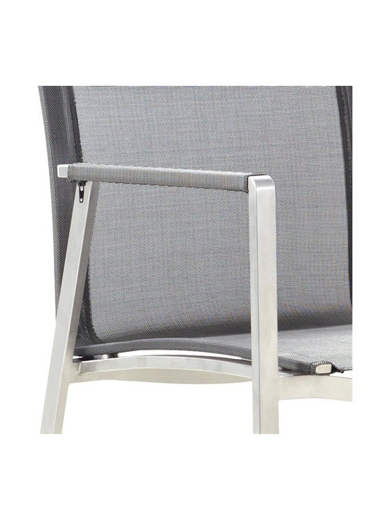 Beautiful Stainless Steel Chair for only $259 - Top of the line cast stainless steel chair with Phifer sling fabric.  This chair is durable enough to be kept outdoors and beautiful enough for indoor use.  Buy through DefySupply and save over 50%.