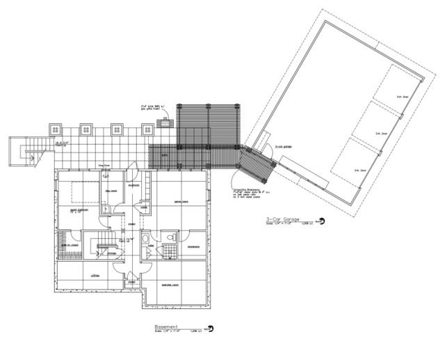 Walk-out Basement Floor Plan with 3-Car Garage craftsman-floor-plan