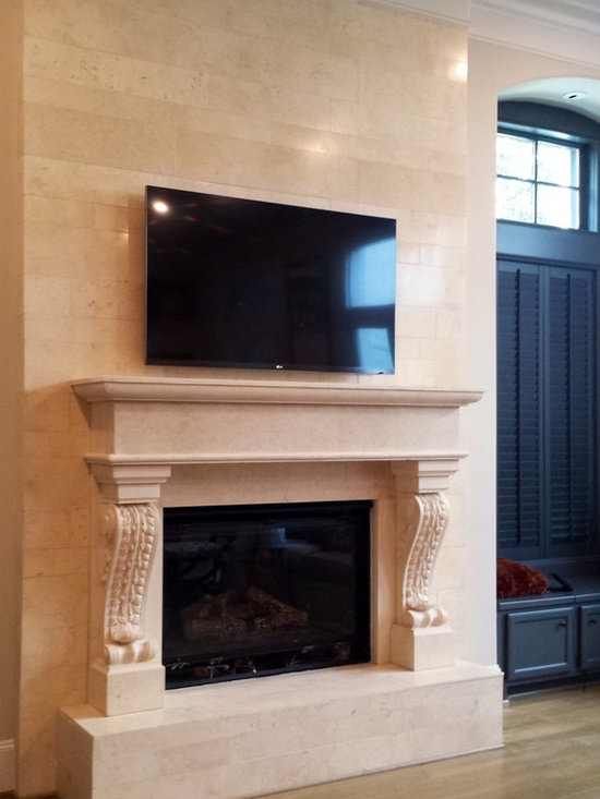 Installations - Hand carved mantle in imported Egyptian crème marble
