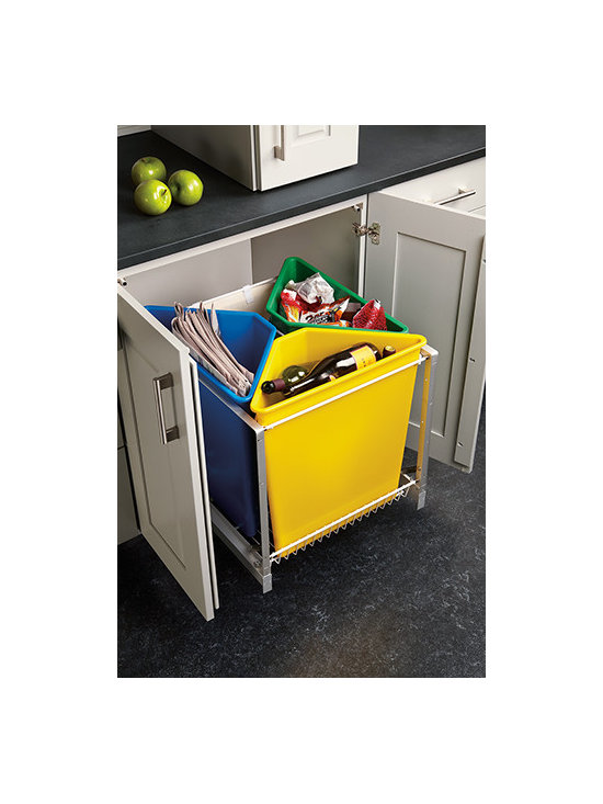 Waste Management System - Includes three color coded 25-quart plastic bins and one canvas bag for recycling made easy.